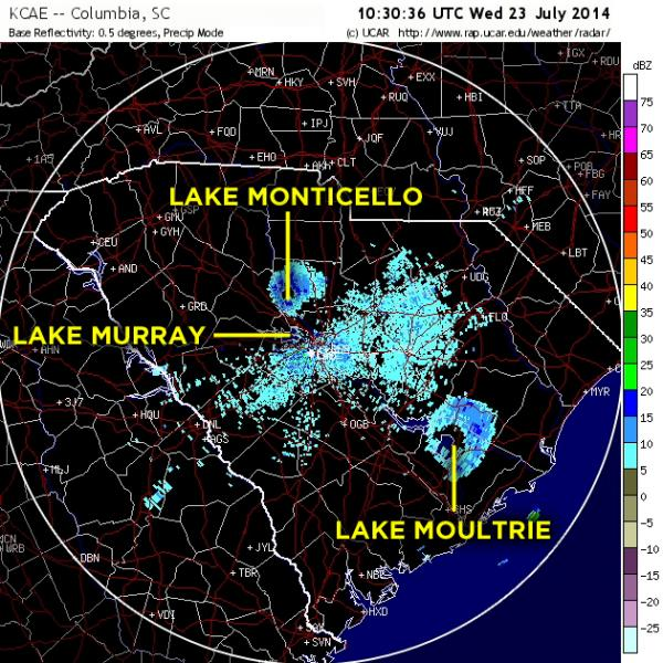 A Doppler radar image, recorded in Columbia, S.C., on the morning of June 23, reveals the telltale rings of birds departing their roosts. A little-known roost above Lake Moultrie has expanded from last year, and a brand-new roost has popped up at Lake Monticello.