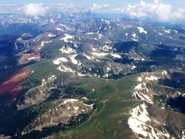 Flying over the Rocky Mountains. (Courtesy Amelia Rose Earhart)