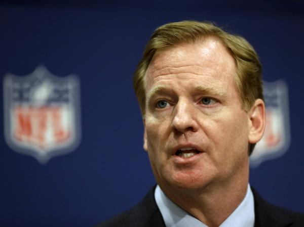 NFL Commissioner Roger Goodell at a press conference in May. Goodell's handling of concerns about concussions and controversies surrounding players has led commentator Frank Deford to wonder whether Goodell is up to the job.