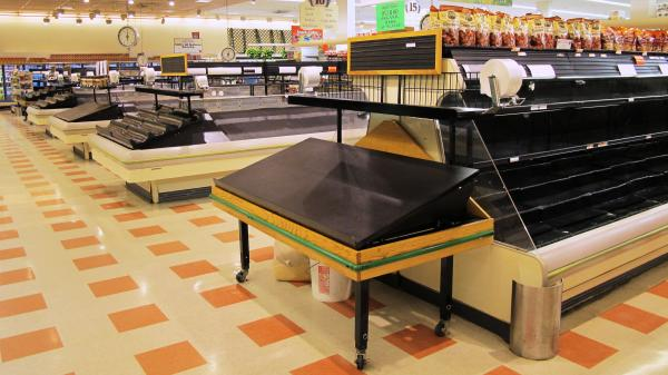 The aisles and food cases are largely empty inside a Market Basket in Somerville, Mass. Workers have disrupted operations by leaving produce to spoil in the back of the store and parking semitrucks to block loading bays.