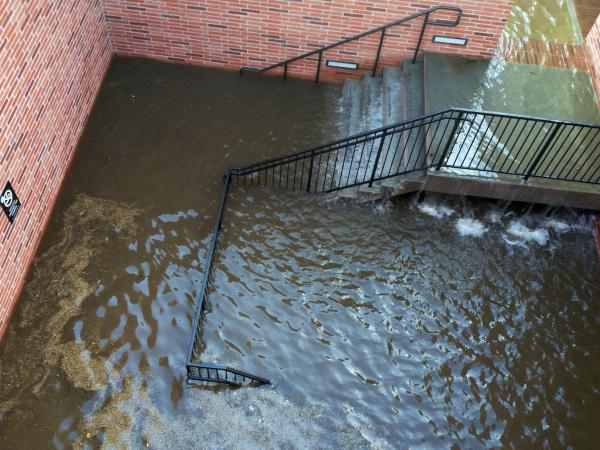 Water filled the stairs to a parking structure adjacent to the main entry doors of Pauley Pavilion, home of UCLA basketball, after a 30-inch water main burst on nearby Sunset Boulevard Tuesday.