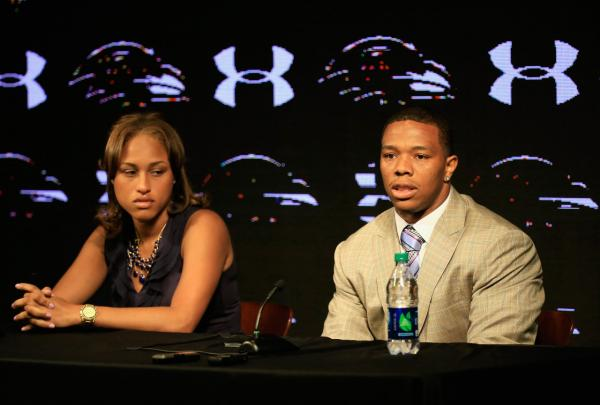Running back Ray Rice of the Baltimore Ravens addresses a news conference with his wife Janay at the Ravens training center on May 23, 2014 in Owings Mills, Maryland. Rice spoke publicly for the first time since facing felony assault charges stemming from a February incident involving Janay at an Atlantic City casino. (Rob Carr/Getty Images)