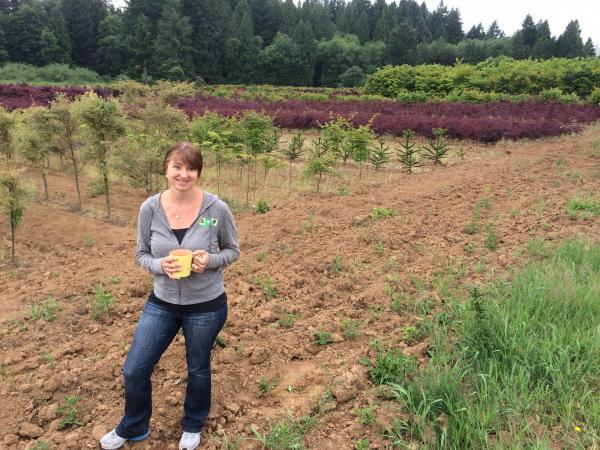Angela Bailey farms decorative trees and shrubs near Gresham, Ore. (Chris Lehman/Northwest News Network)