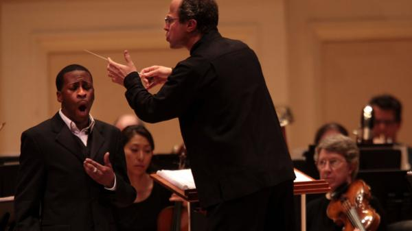 "Albany Symphony conductor David Alan Miller leads the orchestra and baritone soloist Nathan De'Shon Myers in ""The Spirituals Project"" live at Carnegie Hall.<strong></strong>"