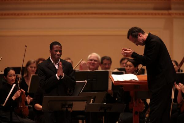 Baritone Nathan De'Shon Myers reacts to a standing ovation at Carnegie Hall's Spring for Music festival.
