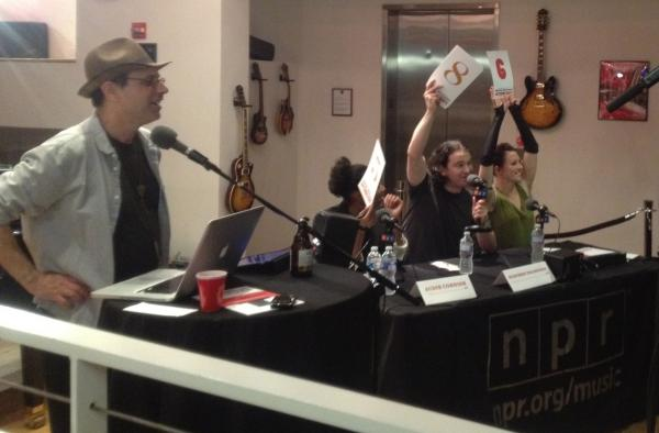 Bob Boilen, Audie Cornish, Stephen Thompson and Amanda Palmer (l to r).