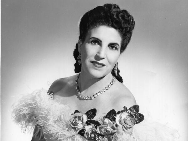 Soprano Licia Albanese in an undated photo, posing as Violetta in Verdi's <em>La traviata</em>.