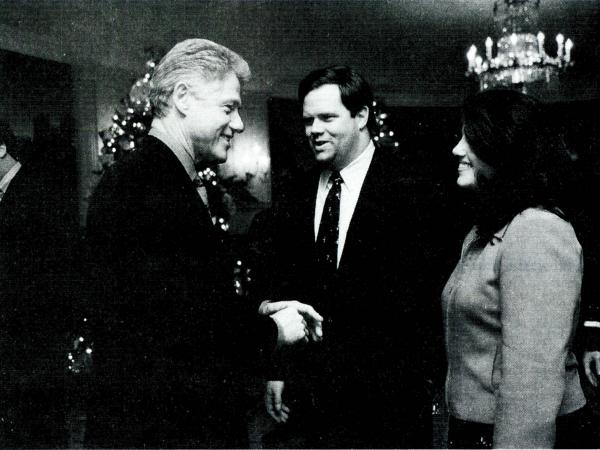 Former White House intern Monica Lewinsky meets President Clinton at the White House on Dec. 16, 1996. Lewinsky, whose affair with Clinton eventually led to his impeachment, has written an article in <em>Vanity Fair</em> in which she talks about her life after the scandal.