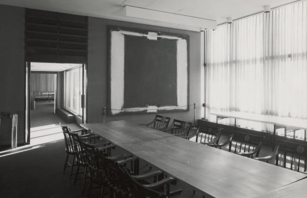 <em>Panel Five</em> of Rothko's <em>Harvard Murals</em> hangs in Holyoke Center in January 1968.