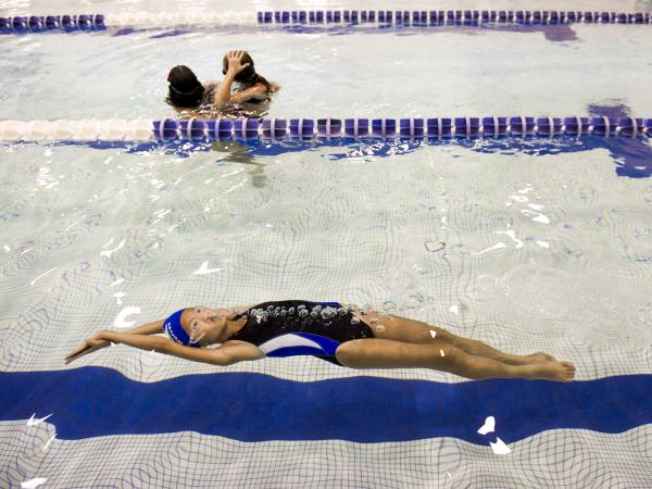 Peri Schiavone gets some practice laps at the YMCA in Reston, Va.