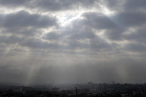 Gaza City, located in the northern Gaza Strip, is seen shortly before the start of a proposed cease-fire Friday morning.