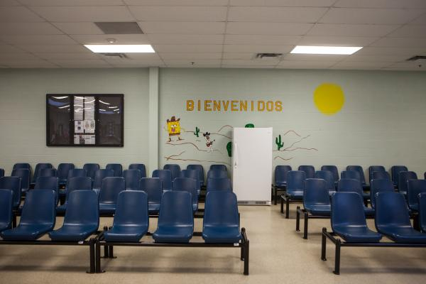 Federal officials opened the doors to give a tour of the newly renovated detention facility in Karnes City, Texas, designed to house mothers and children aprehended at the border.
