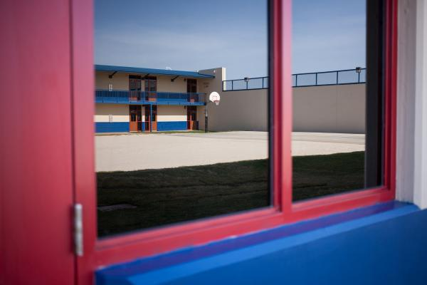 There are many opportunites for recreation inside the locked detention facility, including basketball courts and ping-pong tables.