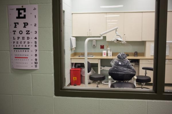The Karnes County Residential facility boasts medical facilities, including eye and dental examination areas.