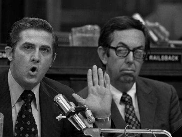 Rep. M. Caldwell Butler (right) listens to debate over the Nixon impeachment proceedings in the House Judiciary Committee in July 1974.