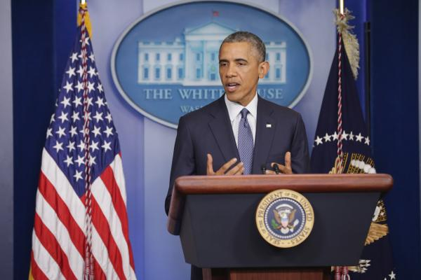 U.S. President Barack Obama delivers remarks and takes reporters' questions in the Brady Press Briefing Room at the White House August 1, 2014 in Washington, D.C. (Chip Somodevilla/Getty Images)