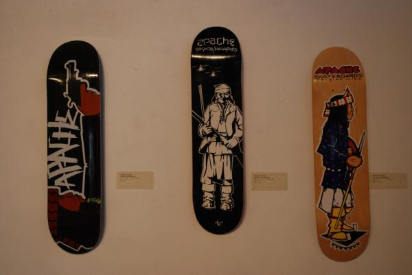 Skateboard art by Doug Miles at a show at the Monorchid Gallery in Phoenix. (Ken Shulman/Only A Game)