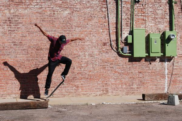 A San Carlos skater gets some air in the Phoenix arts district. (Ken Shulman/Only A Game)