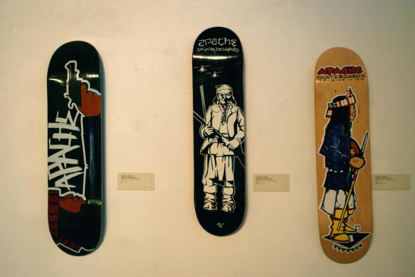 Skateboard art by Miles at a show in Phoenix. (Ken Shulman/Only A Game)