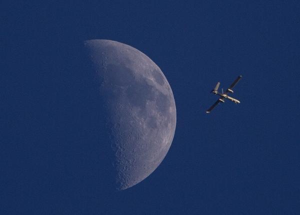 An Israeli drone circles over Gaza City on Sunday.