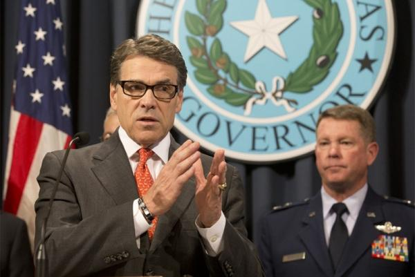 Gov. Rick Perry, seen here announcing he's sending 1,000 troops to the Texas border. Gov. Perry's political capital has risen as Texas's border and immigration issues have increased.