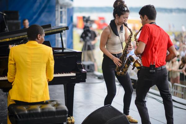 The band was joined by saxophonist Grace Kelly.