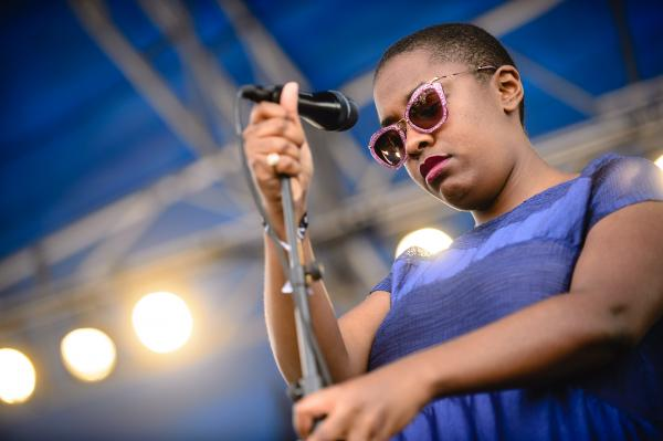 Cécile McLorin Salvant performed two sets at Newport, including one for a main stage crowd on the festival's sunny opening day.