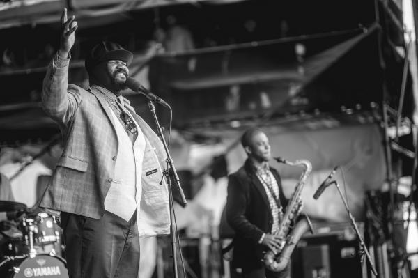 Gregory Porter returned to Newport to repeat last year's triumphant performance — this time on the main stage. Saxophonist Tivon Pennicott provided an able foil.