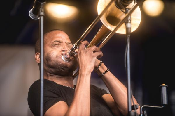 Trombone Shorty & Orleans Avenue brought their signature New Orleans funk-rock to the festival's main stage.