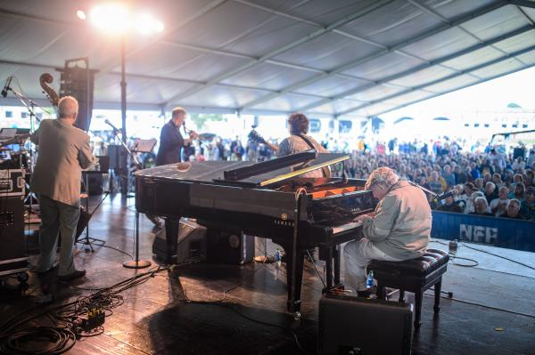 Though more often seen riding a golf cart around the grounds, festival founder George Wein also stepped on stage with a Newport All-Stars band.