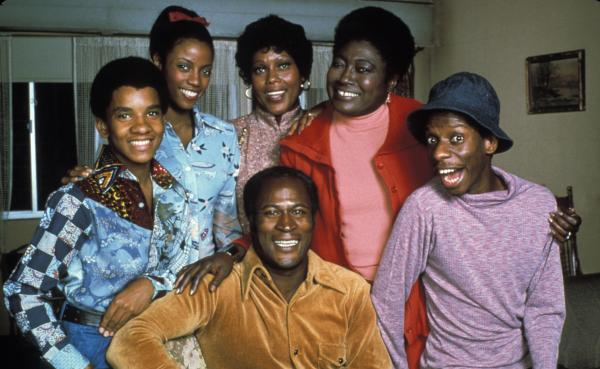 The Evans family from <em>Good Times</em>. Bern Nadette Stanis is second from left.