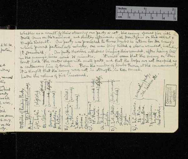 Copy in Sassoon's journal of an official Army report of the raid of 25-26 May 1916 in which he won the Military Cross for recovering a wounded corporal under heavy fire. Credit: The Trustees of G. T. Sassoon Deceased / Cambridge University Library)