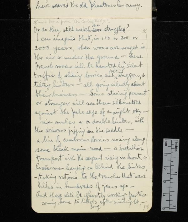 Entry in Sassoon's journal for 1916 imagining how in 100 years' time ghostly soldiers and transport lorries would haunt the French countryside, 'silhouetted against the pale edge of the night sky'. (Credit: The Trustees of G. T. Sassoon Deceased / Cambridge University Library)