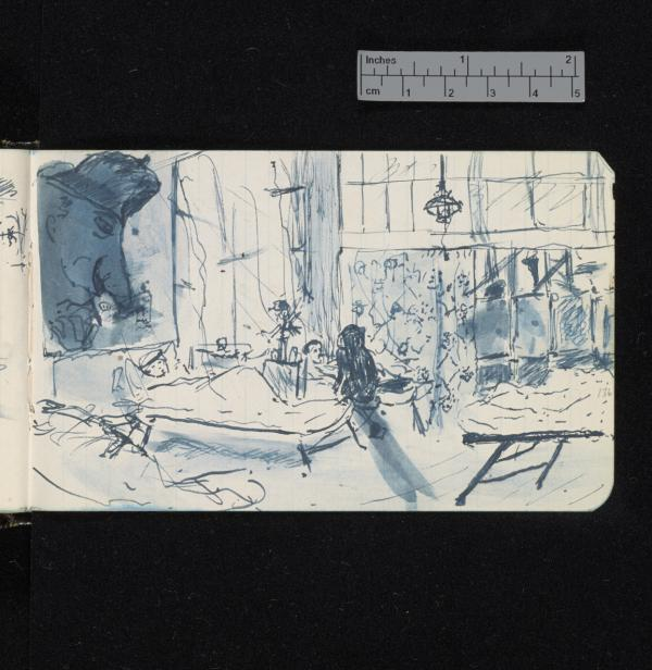 Sketch of a hospital ward from Sassoon's journal, with a sinister head looming above the patients. July–August 1916. (Credit: The Trustees of G. T. Sassoon Deceased / Cambridge University Library)