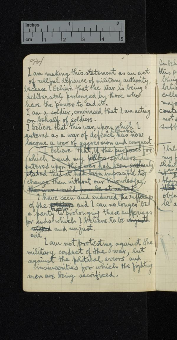 Draft of Sassoon's famous 'Soldier's Declaration', his protest statement against the continuation of the War, which he believed was being deliberately prolonged by those who had the power to end it. 15 June 1917. (Credit: The Trustees of G. T. Sassoon Deceased / Cambridge University Library)