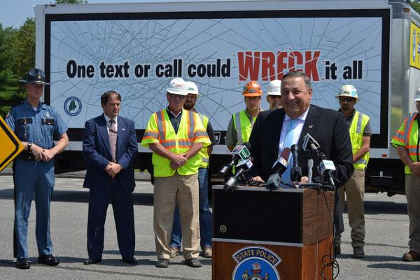 Gov. Paul LePage speaks at a press conference on distracted driving Tuesday.