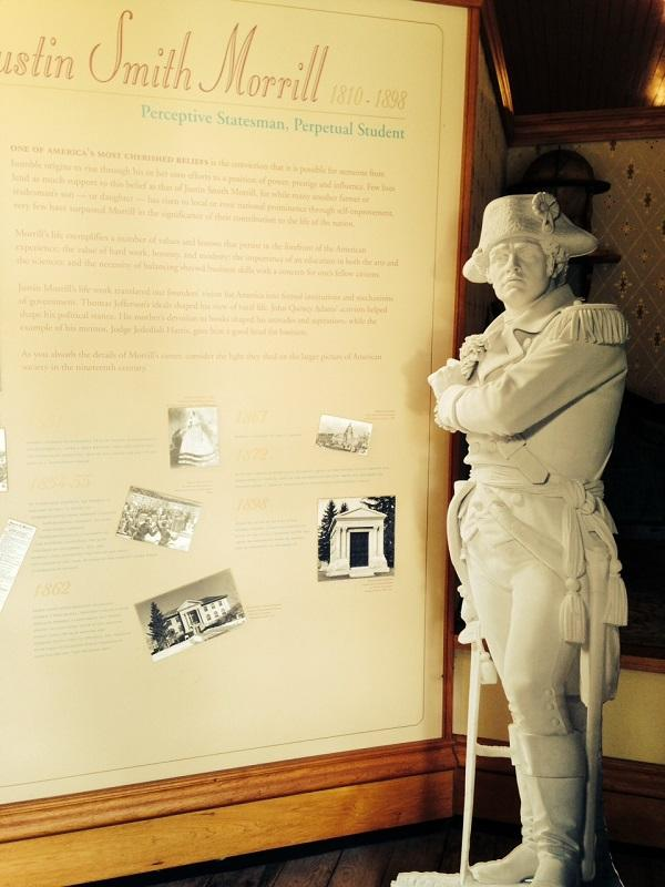 Ethan Allen, as cardboard cut-out, greets visitors to the Statues of Liberty exhibit at the Justin Morrill Homestead in Strafford.