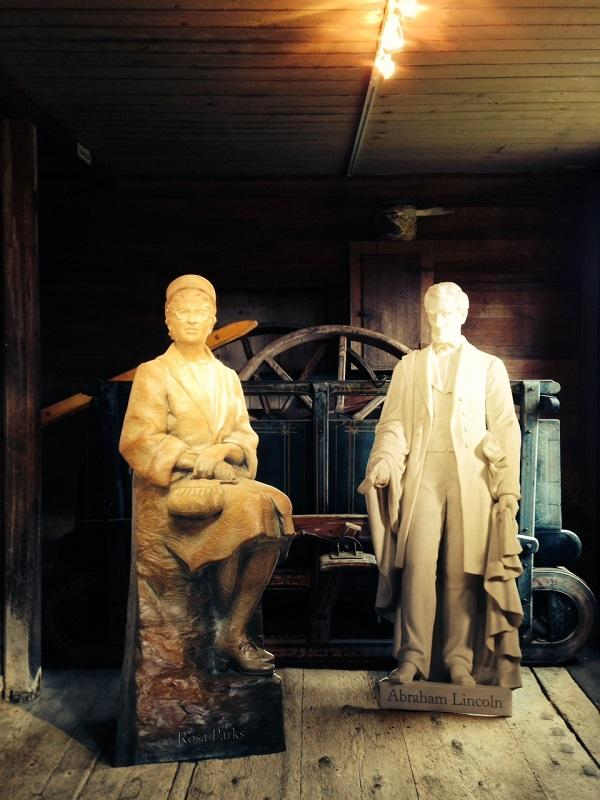 Cardboard statues of Rosa Parks and Abraham Lincoln appear in Statues of Liberty exhibit at the Justin Morrill Homestead in Strafford.