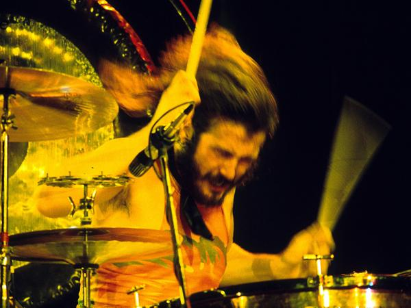 John Bonham of Led Zeppelin at the Los Angeles-area Inglewood Forum in 1973.