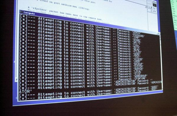 A computer screen shows a password attack in progress at the Norwich University computer security training program in Northfield, Vt. in 2002. (Toby Talbot/AP)