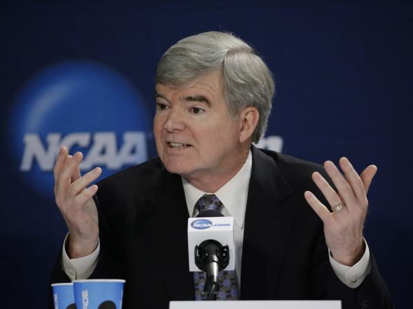 NCAA President Mark Emmert answers a question at an April 6 news conference in Arlington, Texas.