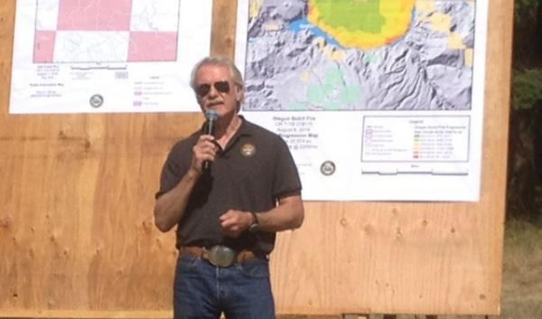 Oregon Gov. John Kitzhaber at an Aug. 6 briefing on the Oregon Gulch wildfire. He used the occasion to call for Congress to pay for forest thinning.