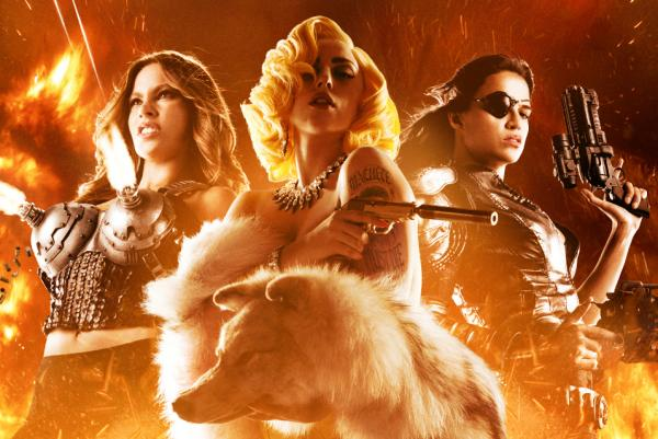 "A new study finds less than 5 percent of actors are Hispanic, and Hispanic women are most likely to be sexualized on screen. Pictured is a promotional poster image for the action-comedy ""Machete Kills"" with Sofia Vergara,  Lady Gaga and Michelle Rodriguez. (Open Road Films)"