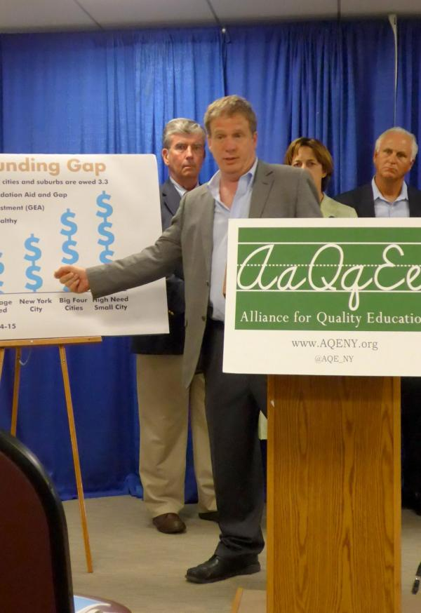 Billy Easton, with Alliance for Quality Education, explains report showing schools are underfunded by billions of dollars