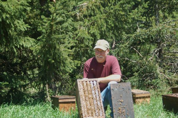 Commercial beekeeper Kirk Jones checks on his honeybees at Sleeping Bear Farms.