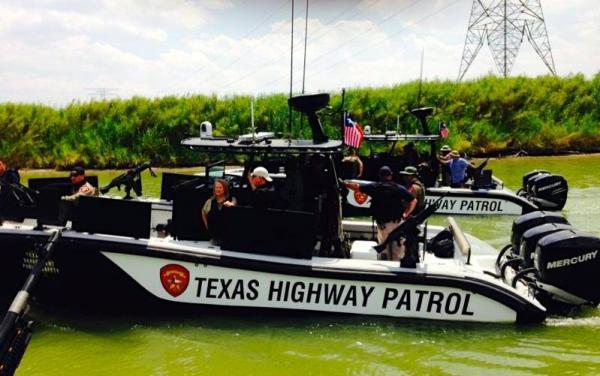 A Texas Highway Patrol boat on the Rio Grande in McAllen, TX.