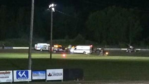 Ambulances converge on the racetrack at Canandaigua Motorsports Park in upstate New York, where sprint car racer Kevin Ward Jr. was hit by Tony Stewart on Saturday.
