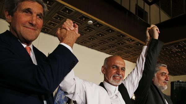 Secretary of State John Kerry and Afghanistan's presidential candidates, Ashraf Ghani (center) and Abdullah Abdullah (right), announce a deal in Kabul on July 12 to audit all Afghan election votes. Kerry returned last week and both candidates reaffirmed their commitment to the audit.