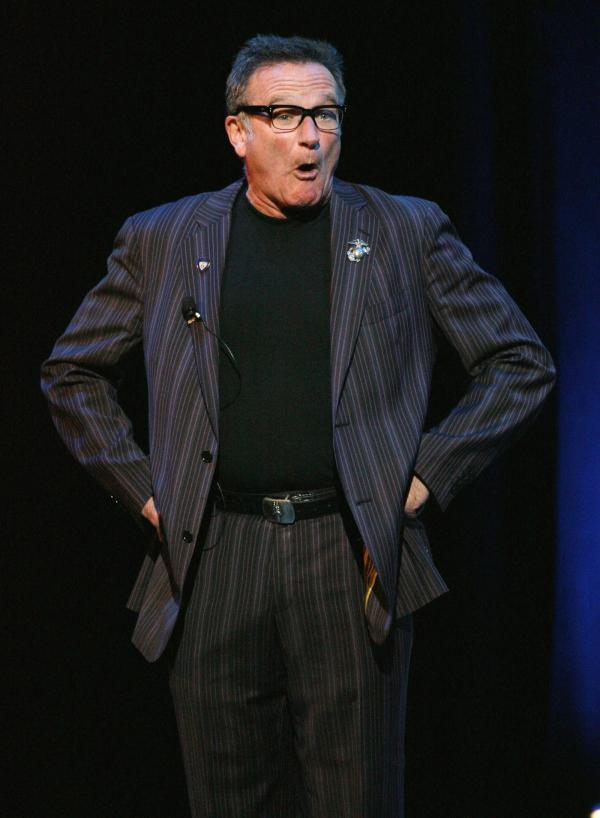 Comedian Robin Williams performs at a comedy festival in New York in 2007. Williams died Monday at age 63.