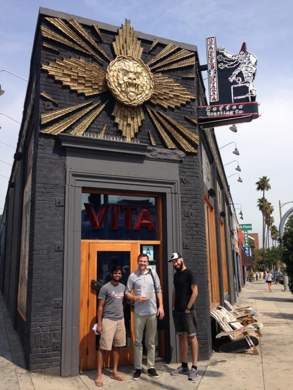 Comedy writers Sandeep Parikh, Curt Neill and Justin Becker outside Caffe Vita, a popular hangout in the Silverlake neighborhood.